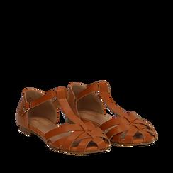 Sandali flat cuoio in eco-pelle con tomaia traforata, Scarpe, 134990781EPCUOI035, 002a