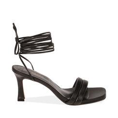 Sandali lace-up neri, tacco 7,5 cm , 17L800196EPNERO036, 001a