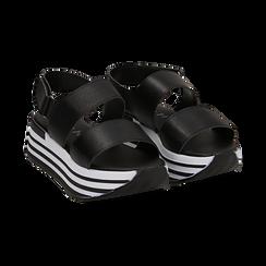 Sandali platform neri in eco-pelle,