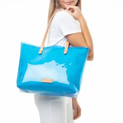 Maxi-bag blu in pvc, Primadonna, 133764210PVBLUEUNI, 002a