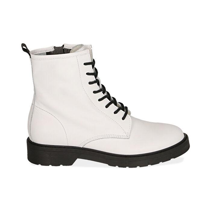 Botas Militares de piel blanco, Primadonna, 17B810831PEBIAN035
