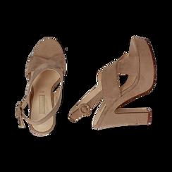 Sandali beige in microfibra, tacco 12,50 cm , Scarpe, 158480412MFBEIG, 003 preview