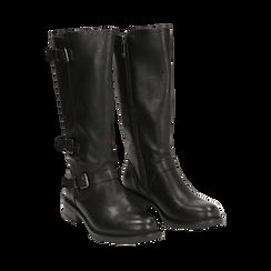 Biker boots con fibbie neri in eco-pelle, tacco 3,5 cm , Primadonna, 14A776168EPNERO036, 002 preview
