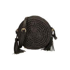 Borsa piccola nera in rafia, Primadonna, 175123102RFNEROUNI, 001 preview