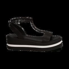 Sandali platform neri in eco-pelle, zeppa 5 cm , Primadonna, 132147513EPNERO035, 001 preview