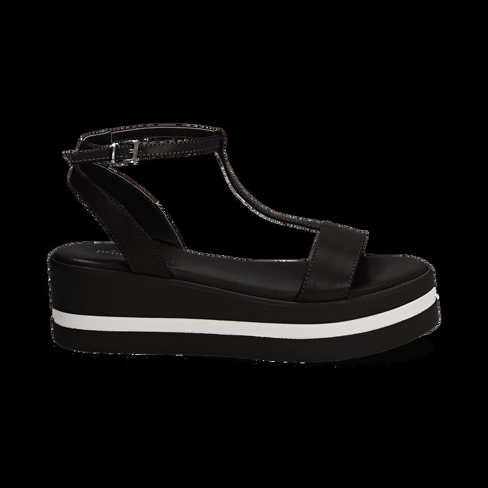 Sandali platform neri in eco-pelle, zeppa 5 cm , Primadonna, 132147513EPNERO035