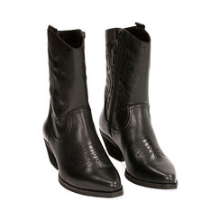 Camperos en cuir noir, talon de 4,5 cm, Primadonna, 17B810809PENERO035, 002 preview