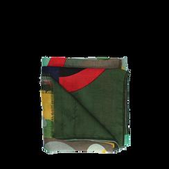 Pashmina verde in tessuto con stampa Seventies, Abbigliamento, 14B491016TSVERD3XL, 001a