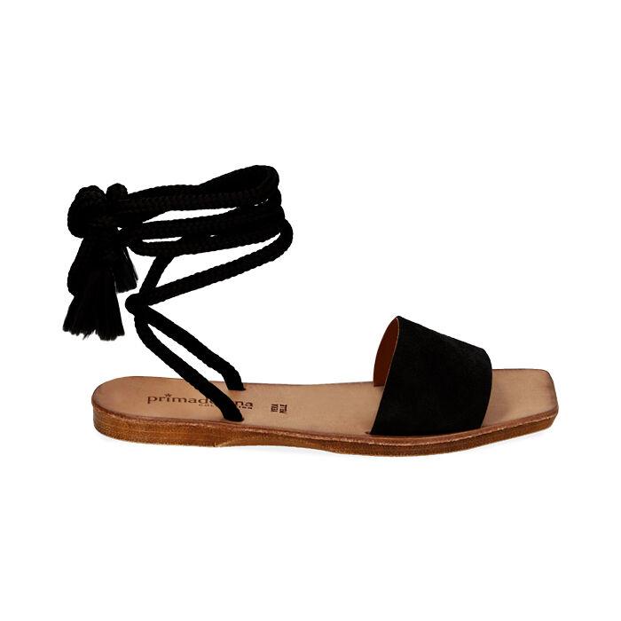 Sandali neri in camoscio , Primadonna, 17A131486CMNERO035