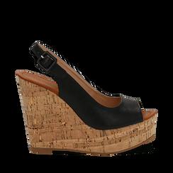 Sandali platform neri in eco-pelle, zeppa in sughero 12 cm , Scarpe, 134907982EPNERO035, 001a