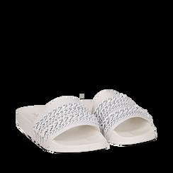 Zeppe bianche in pvc con catene, Saldi Estivi, 112028208EPBIAN035, 002a