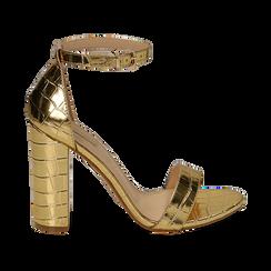 Sandali oro stampa cocco, tacco 10,50 cm, Primadonna, 152706086CCOROG, 001 preview