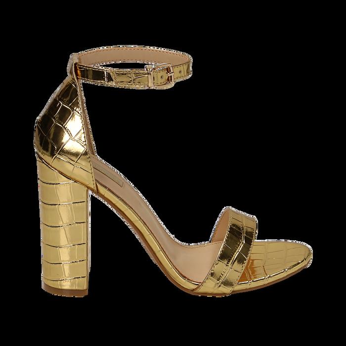 Sandali oro stampa cocco, tacco 10,50 cm, Primadonna, 152706086CCOROG