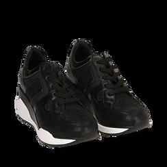 Zapatillas color negro, cuña 7 cm , Primadonna, 162800947EPNERO036, 002a