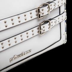 Pochette bianca in ecopelle con dobbia fibbia, Primadonna, 122701281EPBIANUNI, 003 preview