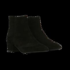 Tronchetti neri a punta, con tacco medio 4,5 cm, Primadonna, 127242325CMNERO, 002 preview