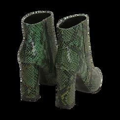 Ankle boots verdi in eco-pelle stampa pitone, tacco 9,5 cm , Primadonna, 142186672PTVERD035, 004 preview