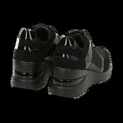 Sneakers nere glitter, zeppa 6 cm , Primadonna, 162801945GLNERO037, 004 preview