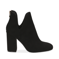 Ankle boots neri in microfibra, tacco 9 cm , Stivaletti, 142708223MFNERO035, 001a