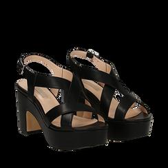 Sandali con plateau neri in eco-pelle, tacco 9 cm , Scarpe, 138402258EPNERO035, 002a
