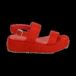 Sandali rossi in microfibra, zeppa 5 cm , Zapatos, 159790136MFCORA036, 001 preview