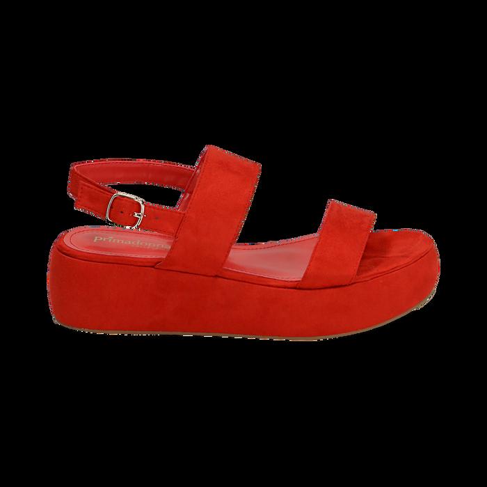 Sandali rossi in microfibra, zeppa 5 cm , Zapatos, 159790136MFCORA036