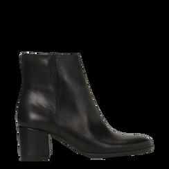 Tronchetti neri in vera pelle con elastico, tacco quadrato 5 cm, Primadonna, 127722101PENERO035, 001a