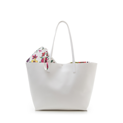 Shopping bag bianca in eco-pelle con pochette ed interni stampa floreale, Borse, 133783133EPBIANUNI, 001a
