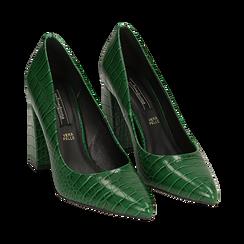 Décolleté verdi eco-pelle effetto coccodrillo, tacco 9,5 cm , Scarpe, 142186671CCVERD036, 002 preview