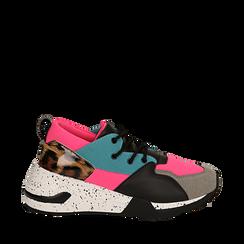 Sneakers fucsia in tessuto tecnico con dettagli leopard, zeppa 6,50 cm, Scarpe, 14D814201TSFUCS035, 001a