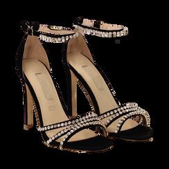 Sandali neri in raso con strass argento, tacco stiletto 11 cm, Scarpe, 132120689RSNERO035, 002 preview
