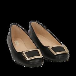 Ballerines noir en simili-cuir avec une boucle, Chaussures, 154969811EPNERO035, 002a