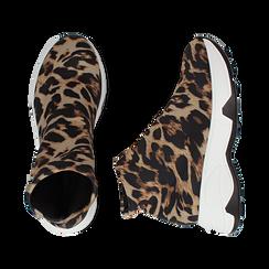Sneakers a calza leopard in lycra, zeppa 5 cm , Scarpe, 142008357LYLEMA037, 003 preview