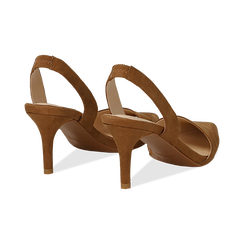 Slingback marroni in microfibra, tacco a rocchetto 7,5 cm , Scarpe, 132133671MFMARR035, 004 preview