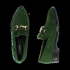 Mocasines de microfibra en color verde, Zapatos, 164964141MFVERD035, 003 preview