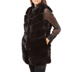 Pelliccia smanicata nera in eco-fur, Primadonna, 166504158FUNEROL, 001 preview