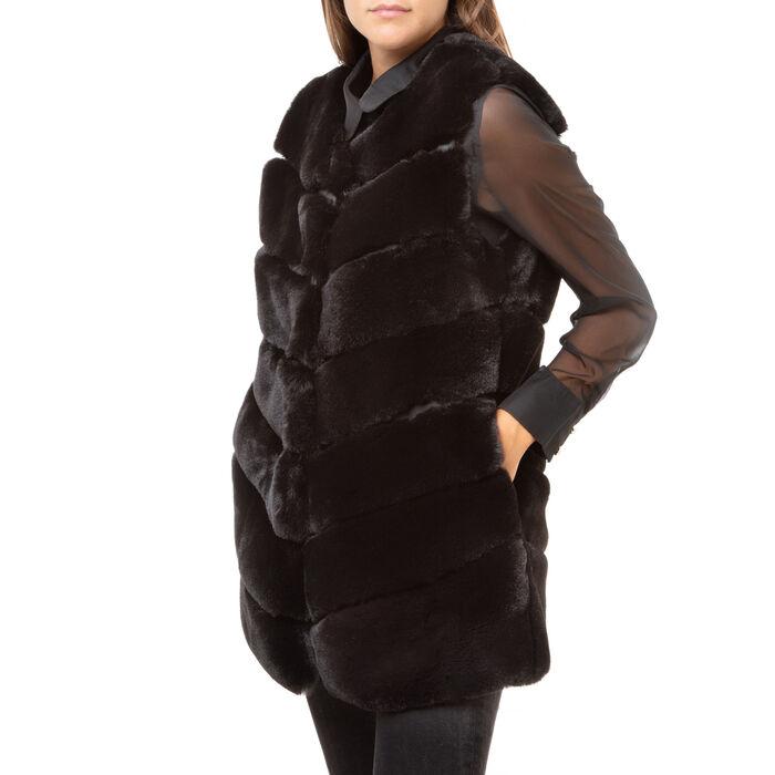 Pelliccia smanicata nera in eco-fur, Primadonna, 166504158FUNEROL