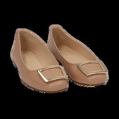 Bailarinas con hebilla de ecopiel en color nude , Zapatos, 154969811EPNUDE036, 002 preview