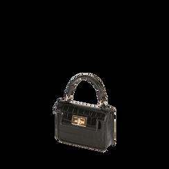Mini bag nera stampa cocco , Borse, 165123042CCNEROUNI, 002a