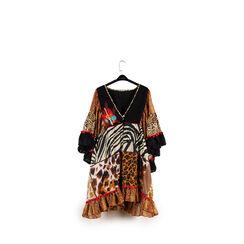 Caftano de niña leopard en tejido, 150500001TSLEOP6, 001a