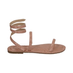 Sandali flat nude in eco-pelle snake print, Chaussures, 154928863PTNUDE036, 001 preview