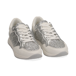 Sneakers en purpurina color plateado, Zapatos, 152669937GLARGE037, 002 preview