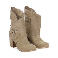 Ankle boots taupe in vero camoscio, tacco 9 , Scarpe, 135600421CMTAUP036, 002 preview