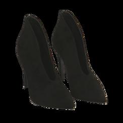 Ankle boots neri in microfibra, tacco 10,50 cm , Primadonna, 162123746MFNERO035, 002a