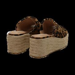 Zeppe platform leopard in eco-pelle, zeppa in corda 7 cm, Saldi, 132708151MFLEOP036, 004 preview