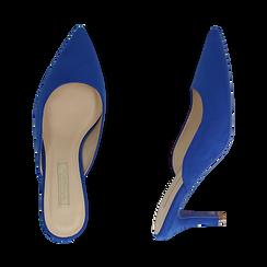 Mules blu cobalto in microfibra, tacco 7,50 cm , Primadonna, 152133675MFBLCO035, 003 preview