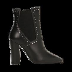Stivaletti Chelsea neri in vera pelle con mini-borchie, tacco 10 cm, Primadonna, 12D614310VINERO, 001 preview