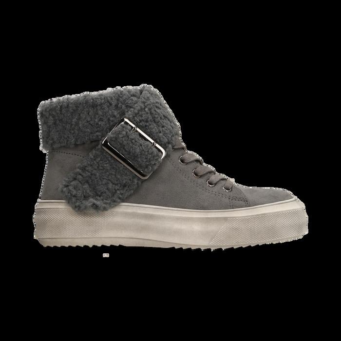 Sneakers grigie con risvolto in eco-shearling, Scarpe, 124110063MFGRIG