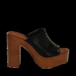 Sandali platform neri in eco-pelle, tacco 12 cm , Primadonna, 132177611EPNERO035, 001a