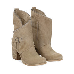 Ankle boots taupe in vero camoscio, tacco 9 , Scarpe, 135600421CMTAUP036, 002a